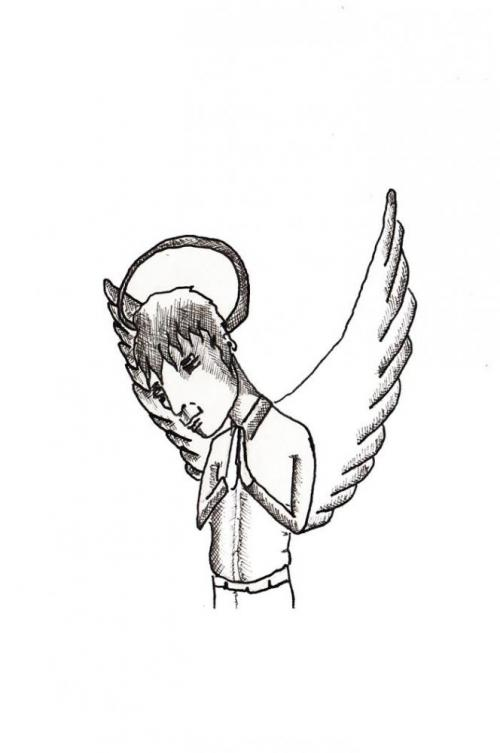 sad angel - luca beolchi drawings